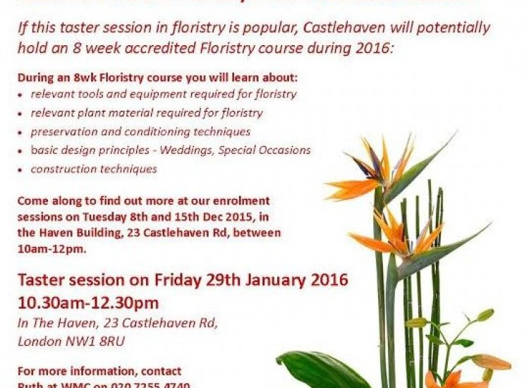 Free Floristry Taster Session For Over 19yrs+
